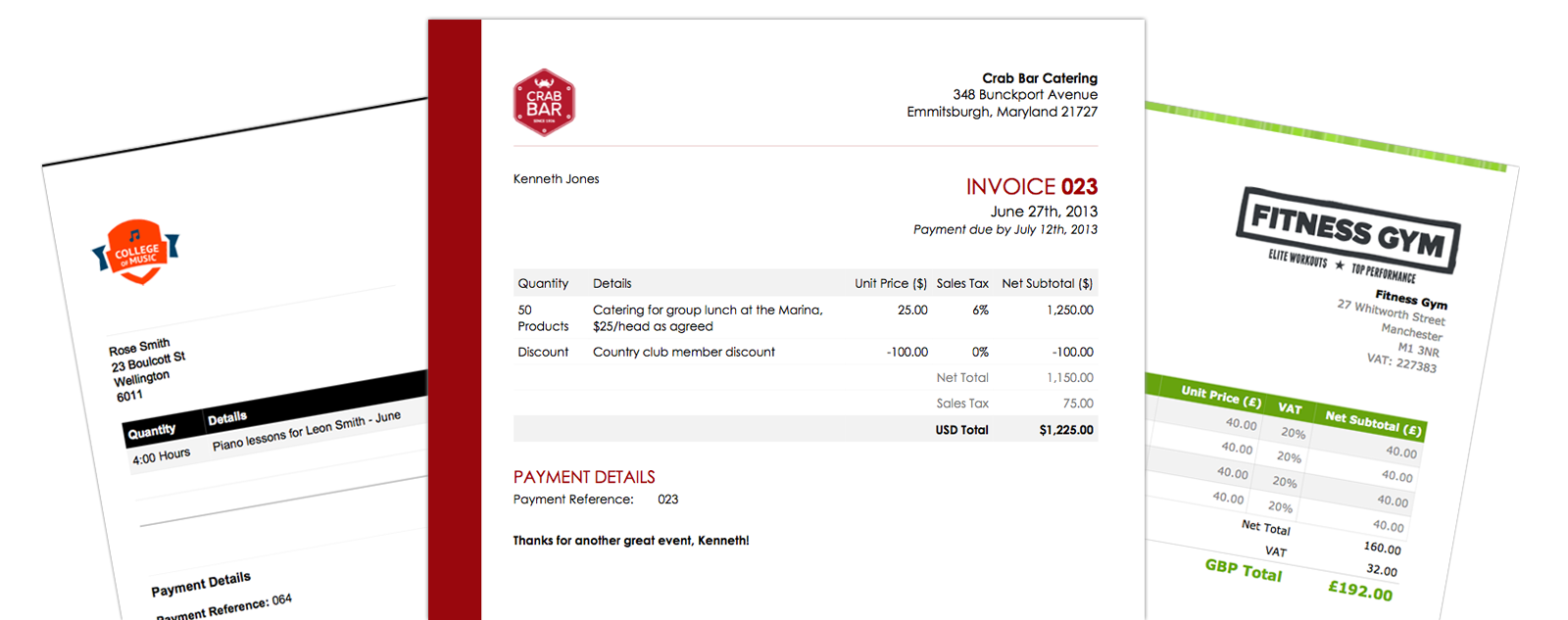 Online invoice templates - gallery view