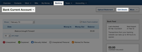 navigating banking screen - selecting a bank account and selecting edit details