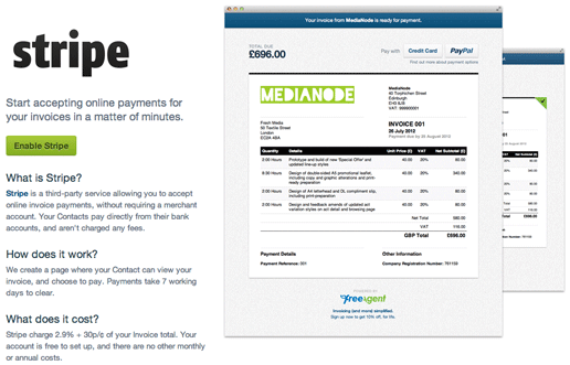 receiving invoice payments stripe freeagent With how to send an invoice with stripe