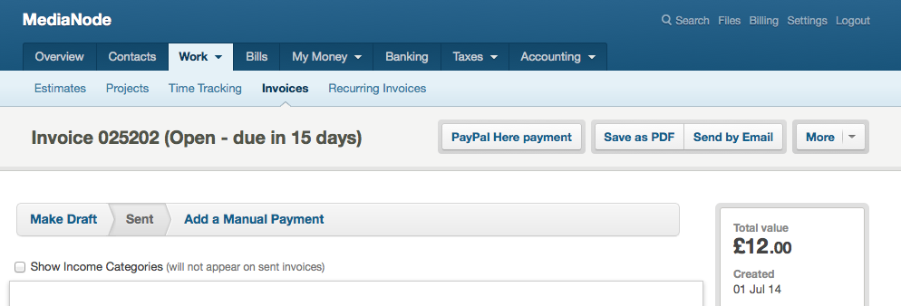 PayPal Here payment button on FreeAgent invoice