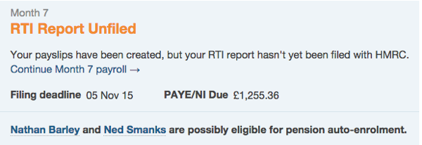 payroll dashboard notification that employee is possibly eligible for auto-enrolment