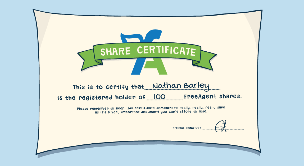 illustrated representation of share certificate