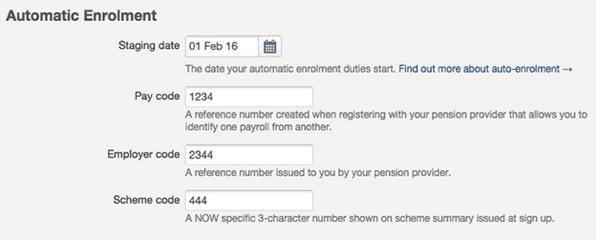 enter auto-enrolment details