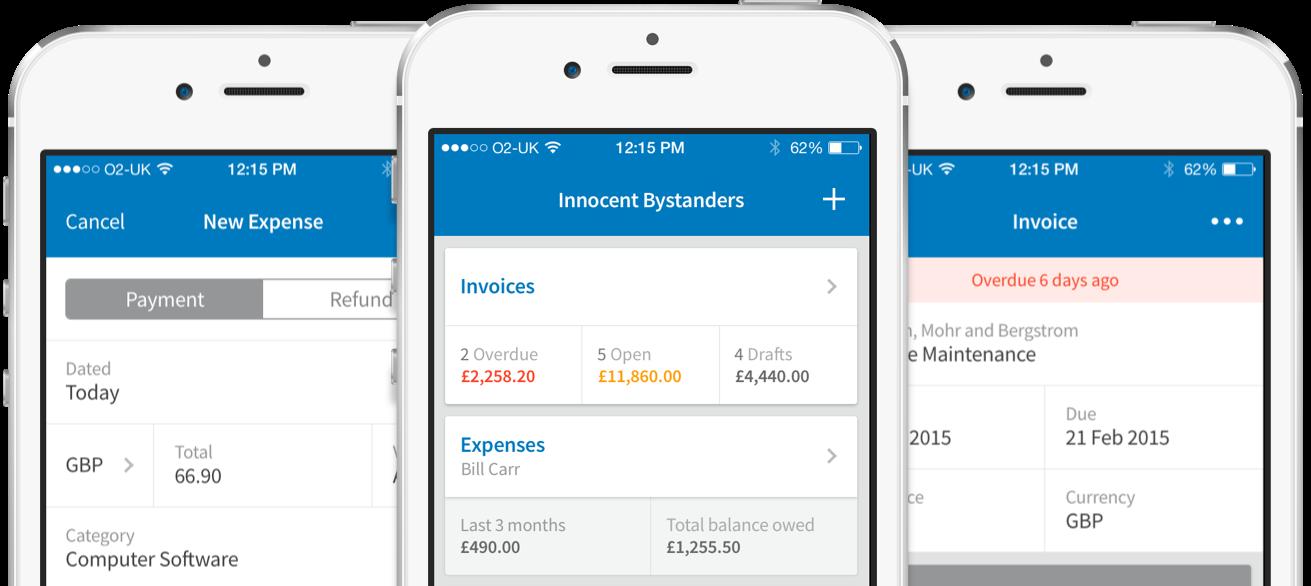 Screenshots of FreeAgent mobile app