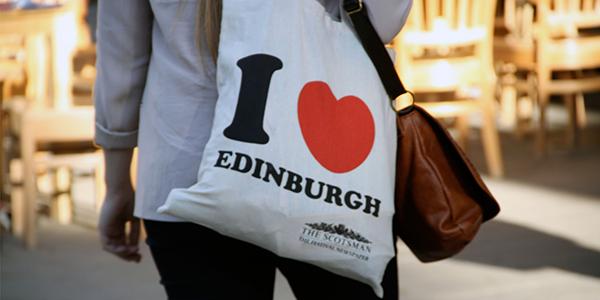 photo of lady carrying I love Edinburgh bag
